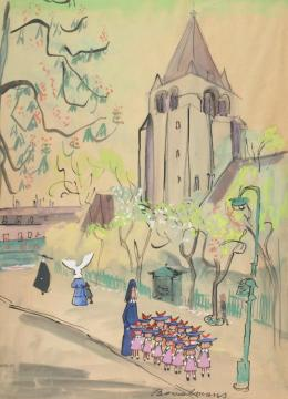 Parisian Street Scene With Madeline, Miss Clavel, And Pupils Artwork by Ludwig Bemelmans