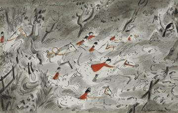 Fox Hunting Artwork by Ludwig Bemelmans