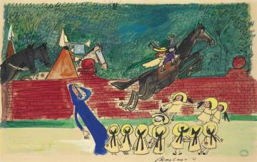 Pepito Gets Mounted, And Madeline With Him Artwork by Ludwig Bemelmans