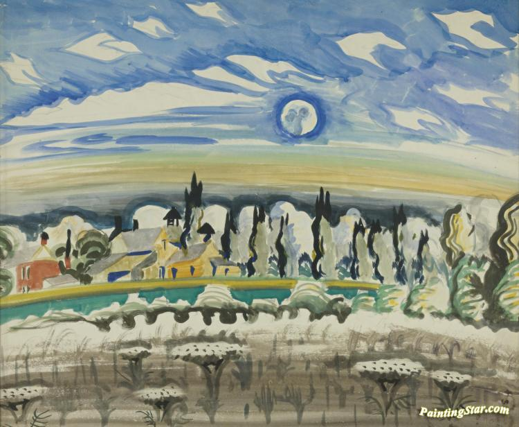Moon Over Village Artwork by Charles Burchfield