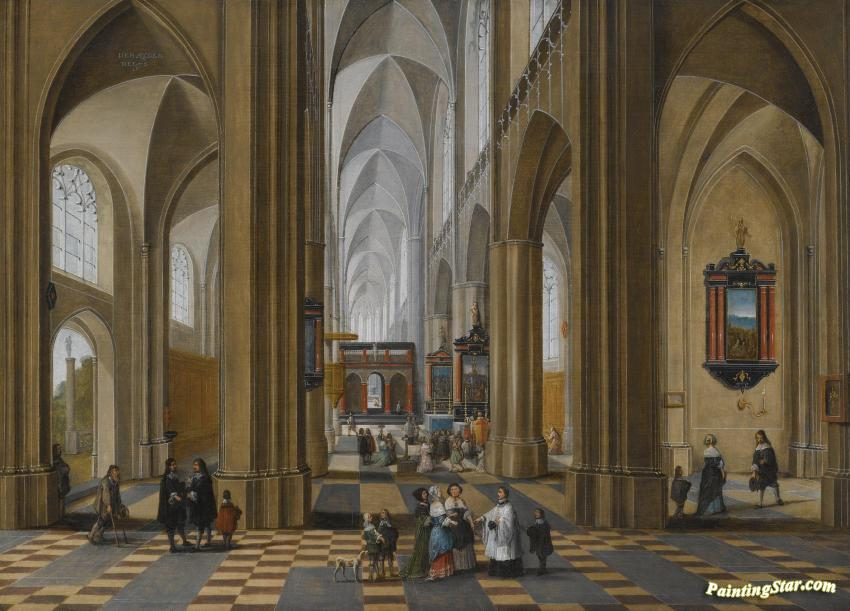 The Interior Of A Gothic Cathedral With Elegant Figures