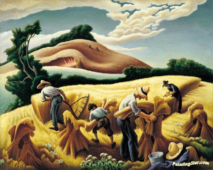 cradling wheat, 1938 artwork by thomas hart benton oil painting ...