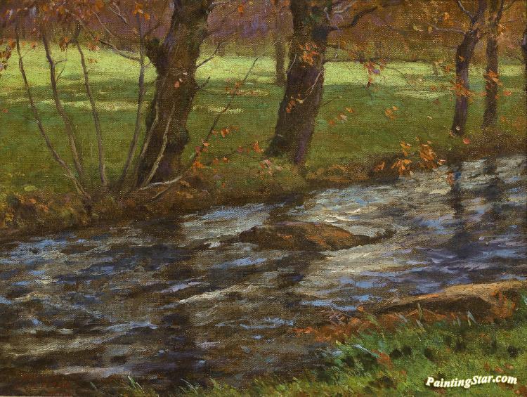 Autumn Brook Artwork By John Ferguson Weir Oil Painting & Art Prints ...