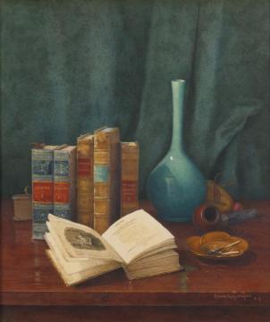Still Life With Poems By Cowper Artwork by Claude Raguet Hirst