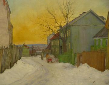 A Street In Oslo Artwork by Harald Oskar Sohlberg