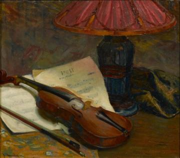Still Life With Violin Artwork by Jean Mannheim