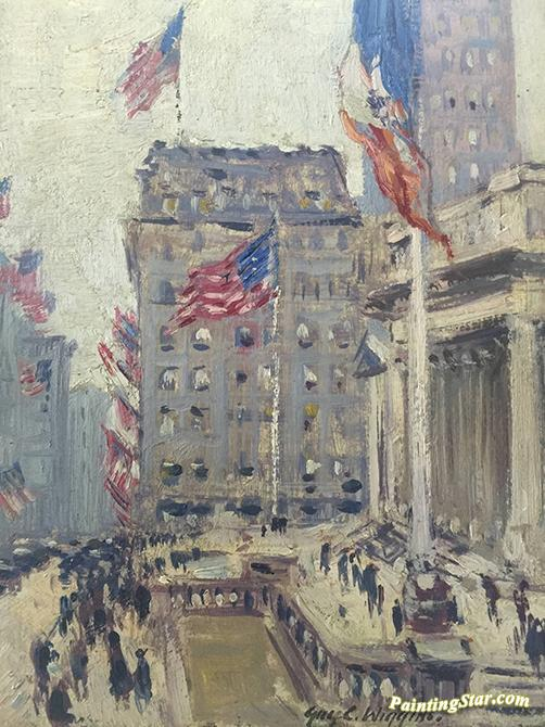 Flag Day 42nd Amp 5th Ave Ny 1919 Artwork By Guy Wiggins