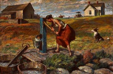 Woman At The Pump Artwork by Harvey T. Dunn