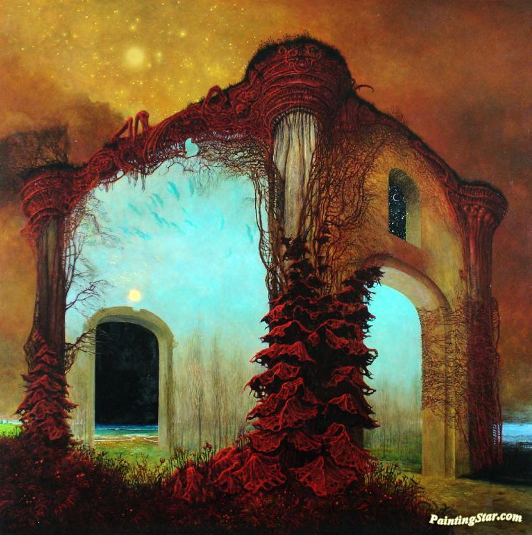 painting entitled: aa78 artwork by zdzisław beksiński oil painting ...