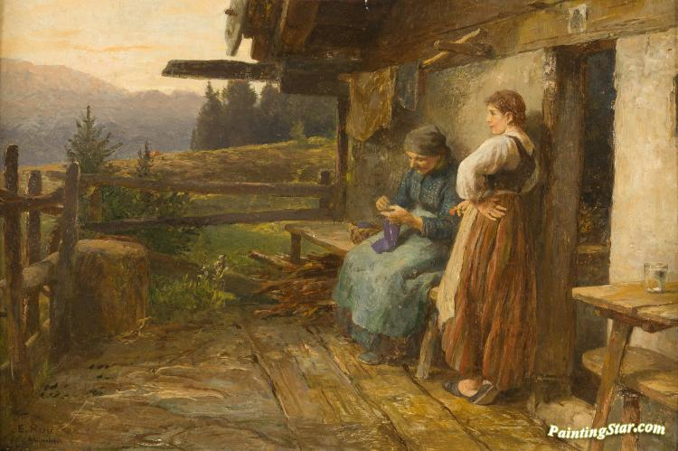 Old And Young Milkmaids Artwork by Emil Rau