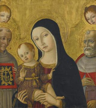 The Madonna And Child With Saints Bernardino Of Siena And Jerome, Behind Them Two Angels Artwork by Matteo di Giovanni
