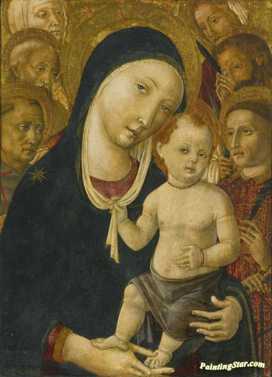 The Madonna And Child With Six Saints Artwork by Matteo di Giovanni