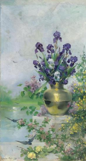 A Vase Of Irises On The Terrace Artwork by Louise Abbema