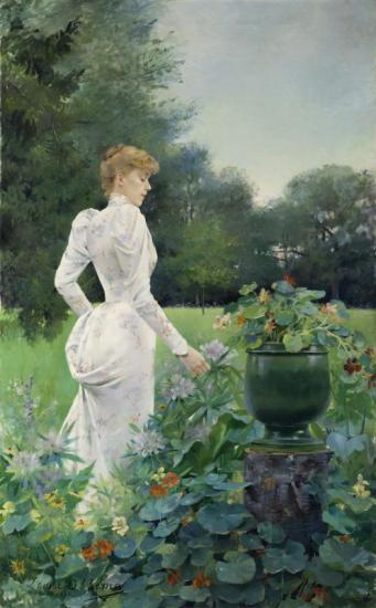 In The Flowers, 1892 Artwork by Louise Abbema
