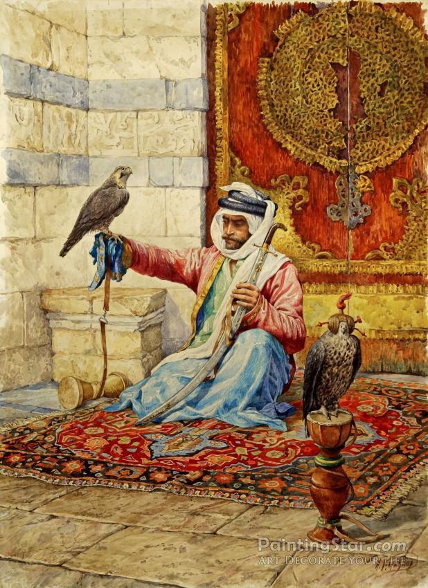 ffb0df26b19 Arab Falconer In A Moorish Interior Artwork by Nikolai Nikolaevich Karazin