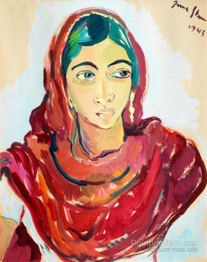 Portrait Of An Indian Woman Art Painting By Irma Stern