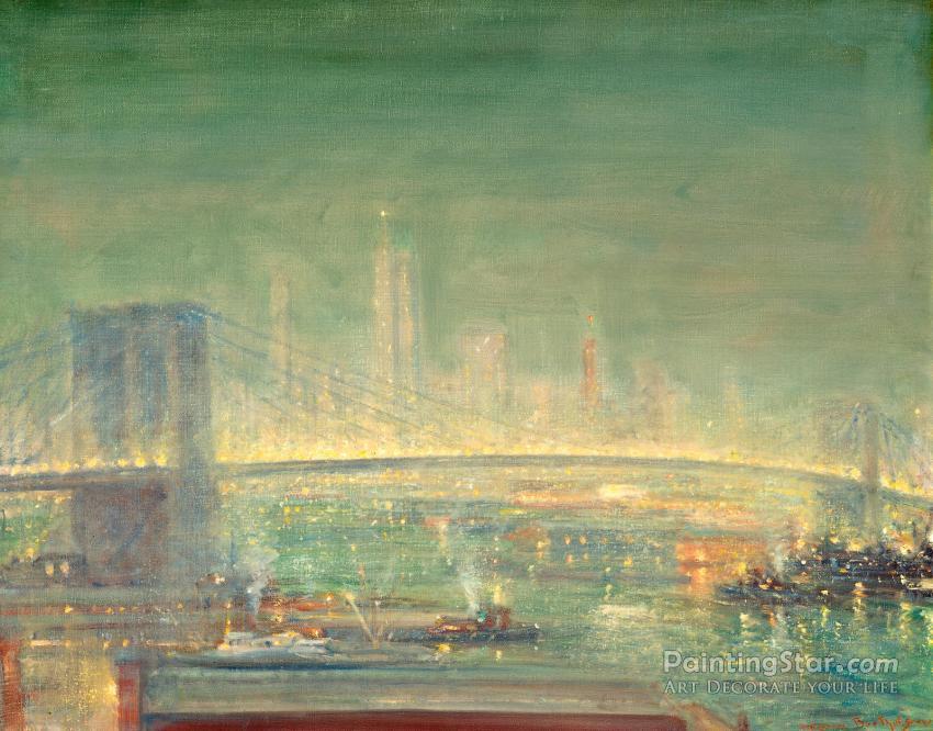 Brooklyn Bridge With New York Skyline Art Painting By Johann Berthelsen