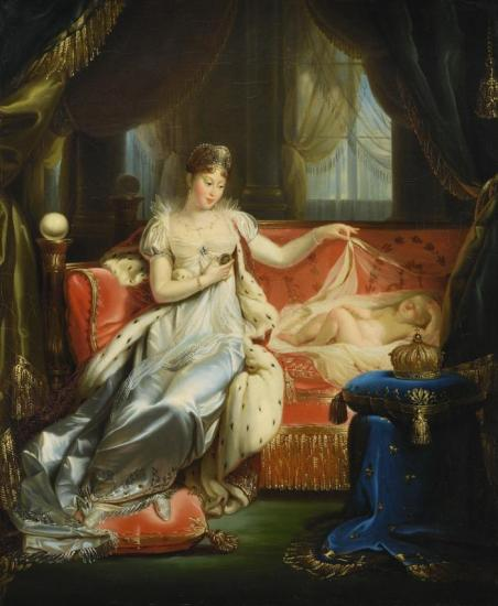 Empress Marie-louise Watching Over The Roi De Rome Asleep Artwork by Joseph Franque