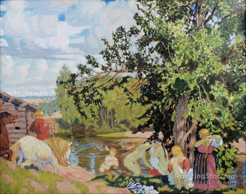 The Bath 1910 Artwork By Boris Mikhailovich Kustodiev Oil Painting Art Prints On Canvas For Sale Paintingstar Com Art Online Store