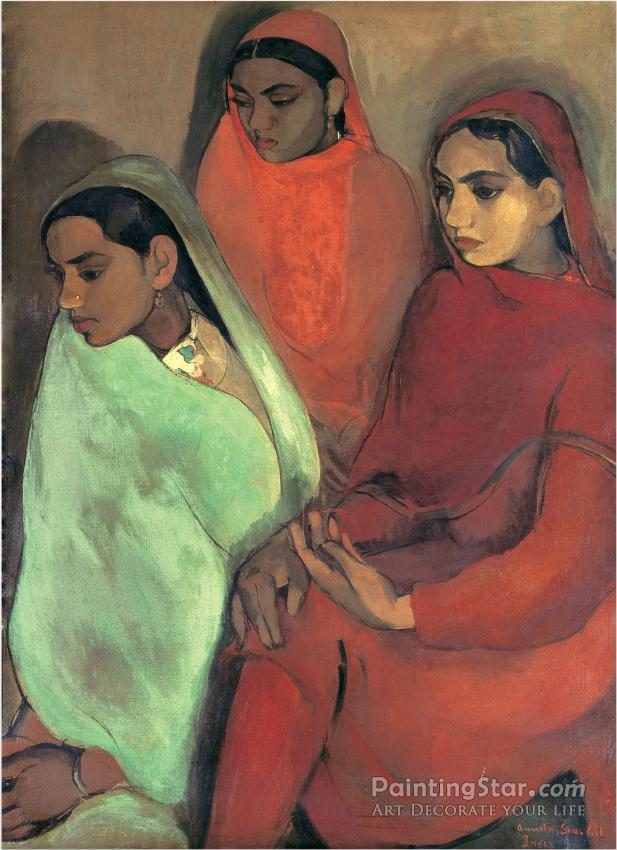 Group Of Three Girls, 1935 Artwork by Amrita Sher Gil