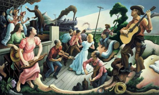 The Sources Of Country Music Artwork by Thomas Hart Benton