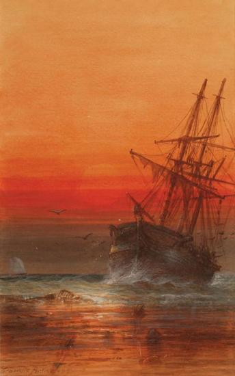 Tropical Sunset With Palm Trees, Anchored Sailing Ship At Sunset Artwork by Granville Perkins