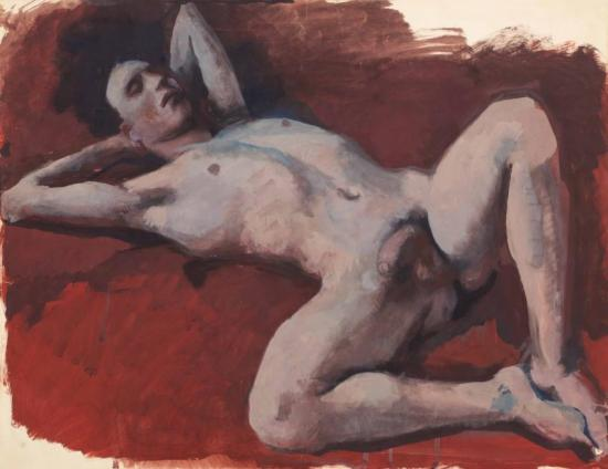 Robert Petit Reclining With Red Background Artwork by Pavel Tchelitchew