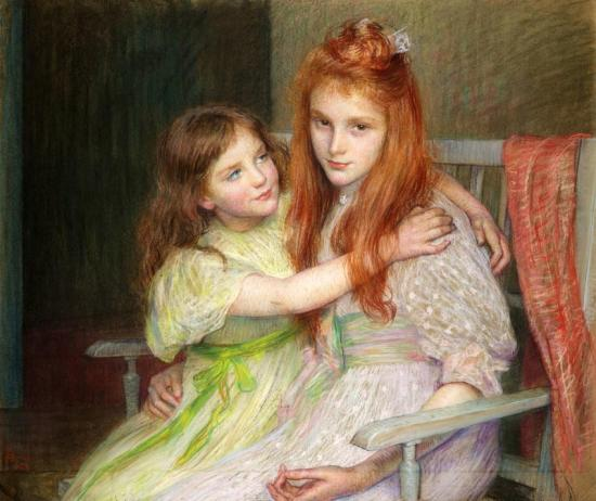 Two Young Girls Sitting On A Banquette, 1896 Artwork by Marie Louise Catherine Breslau