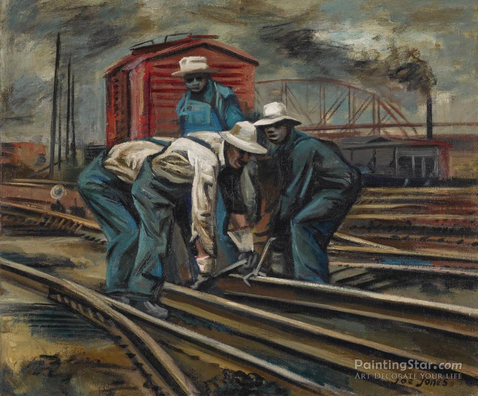 Railroad Workers, 1940 Artwork By Joe Jones Oil Painting